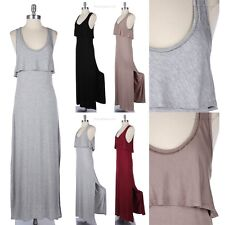 Scoop Neck Double Layered Maxi Dress Side Slit Sleeveless Full Length Long Cute