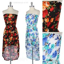 All Over Floral Print High Low Hem Strapless Tube Dress Stretchable Waist Cute