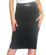 New Womens Skirt Bodycon Stretch Ladies Pencil Midi Office Size 4 6 8 10 12 14
