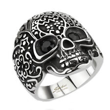 Stainless Steel Detailed Skull with Black CZ Eyes Ring Size 9-15