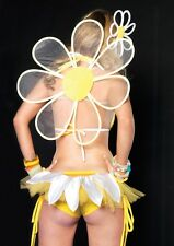 Sexy Clubwear Yellow Shorts Daisy Petal Ruched Side Booty Shorts w Tulle Back