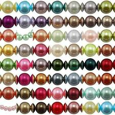 50 x 10mm Round Glass Pearl Beads Faux Imitation CHOOSE COLOURS Jewellery Making