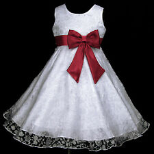 Light,Deep Red White w329 UkG Bridesmaid Wedding Party Flower Girls Dress 2-12y