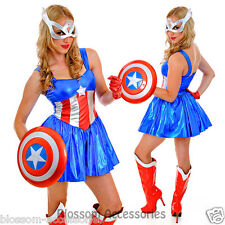 J62 Ladies Captain America Super Hero Woman Fancy Dress Halloween Costume & Mask