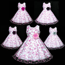 w382 UkG White X'mas Party Communion Bridesmaid Wedding Flower Girls Dress 2-12y