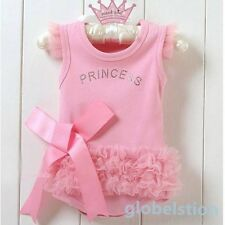 New One-piece T-shirt Pink Flower Princess Dress Bodysuit Kids Party Dress 0-36M