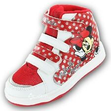 Girls Disney Minnie Mouse Hearts Hi Top Trainers Shoe Sizes 6-12