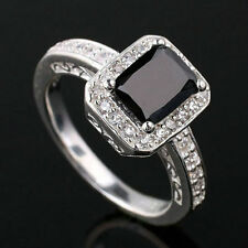 NEW Oblong Center Stone Women Engagement Ring Real 925 Sterling Silver Size