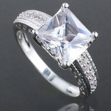 Classic Princess Cut Women Sterling Silver Ring Size Selectble Anniversary Gift