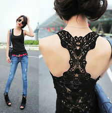 1pc Women's Sexy Lace Flower Tank Top Sexy Cami Sleeveless Casual Cotton T-Shirt