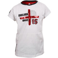 RFU Official England Rugby Union Girls Cross Of St George Sequined Tee rrp£15