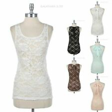 Full Floral Lace Tank Top with Back Ribbon Round Neck Sleeveless High Low Hem