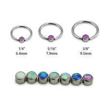 316L Surgical Steel Captive Bead Nose Ring Septum Hoop Opal 18G 20G 16G