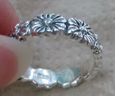 SOLID 925 STERLING SILVER PLAIN OXIDISED EUROPEAN STACKABLE FLOWER BAND RING