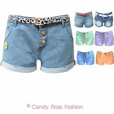 NEW LADIES ACID WASH TIE DYE HIGH WAISTED DENIM HOT PANTS STUDDED SHORTS 6-16