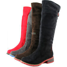 Knee High Flats Heel Boots Thick Round Toe Military Inspiring Cowboy Rider Shoes