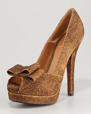 "FENDI ""Deco"" Textured Suede Peep Toe Bow Platform Pumps Shoes Heels Brown $790"