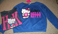 NWT HELLO KITTY SANRIO BLUE SWEATSHIRT OR T-SHIRT JUNIORS SZ LARGE 11 13