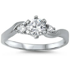 ELEGANT ROUND CZ ENGAGEMENT PROMISE .925 Sterling Silver Ring Sizes 4-10