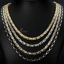 5mm Boy Mens Chain Black Gold Silver Byzantine Box Link Stainless Steel Necklace