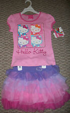 NWT HELLO KITTY 2 PC. GRAPHIC SHIRT TOP & TUTU SKIRT SET GIRLS SZ 5 6 6X