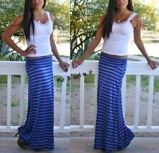 SEXY FOLD OVER RUCHED WAIST BLUE SILVER STRIPED LONG MAXI KNIT SKIRT BEACH S M L