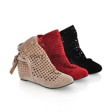New Summer Womens  Ankle Boots Flat Suede increase hollow out Inside In Shoes