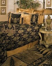 6pc Magnificent Asian Art Black/Gold Comforter Set Queen  King Cal King