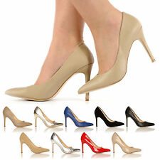 LADIES POINTED COURT HIGH HEELS NEW WOMEN STILETTO CASUAL SHOES SIZE 3 - 8