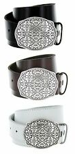 Floral Made in Italy Silver Buckle with Genuine Leather Casual Belt Strap