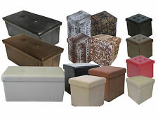 FAUX LEATHER SUEDE CUBE LONG FOLDING OTTOMAN POUFFE TOY STORAGE BOX SEAT STOOL