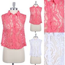 Full Floral Lace Sleeveless Button Down Front Collared Shirt Unique Stylish Cute