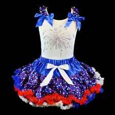Pettiskirt Tutu 2 pc Patriotic Set 4th of July Pageant U Pick Top NWT 1-10/12 Yr