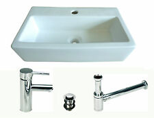 BASIN small TAP WASTE sink washbasin wash basin cloakroom ceramic wall hung Ne