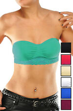 Bandeau seamless strapless lace band tube bras top comfy 39918 one size fit most