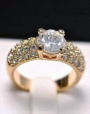 18K GP Gold Plated Inlay Crystal Engaged Get Married Ring size 5.5 6 7 8 9