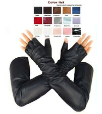 custom made 30cm to 80cm long fingerless half finger style real leather gloves