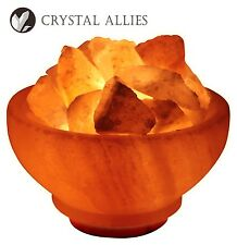 "Crystal Allies Gallery: Natural 6"" Himalayan Salt Fire Bowl Lamp w/ Cord & Bulb"