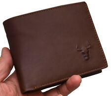 New Mens Brown Cow Leather Wallet Purse 2 Zippered Pocket Blue Mount -MJ2222