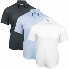 Mens Short Sleeve Plain Oxford Shirt Button Down Collar Slim Fit By Xact