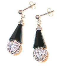BLACK & CLEAR on WHITE Crystal Earrings Silver Disco Ball Swarovski Elements
