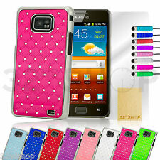BLING LUXURY HARD CASE SKIN COVER & SCREEN PROTECTOR FOR SAMSUNG GALAXY i9100 S2