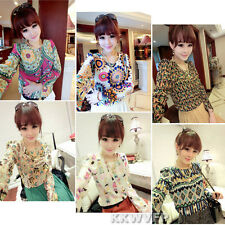 Women's Vintage Personalized Long Sleeve Chiffon Casual Print Summer Tops Blouse