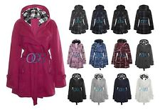 New Womens Hooded Belted Fleece Button Coat Ladies Check Hood Jacket Size 8-14