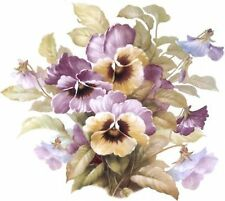 San Do Pansy Flower Lavender Yellow Select-A-Size Ceramic Waterslide Decals Hx
