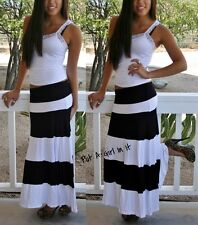 FOLD OVER WAIST BISCOT BLACK & WHITE STRIPED BLOCK LONG MAXI KNIT SKIRT S M L