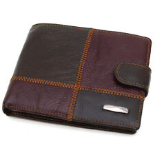 New Brown Leather Mens Clutch Wallet Purse Zippered Pocket Coin Pouch/J262