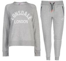 Lonsdale Ladies Charcoal Silver Tracksuit Hoody & Pants Sizes 8 10 12 14 16 18