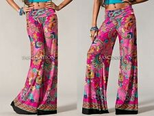 PINK PAISLEY FLORAL FOLDOVER TALL WIDE LEG FLOWY YOGA SUVA PALAZZO PANTS S M L
