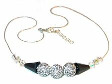 CLEAR & BLACK Crystal Necklace Sterling Silver Disco Ball Swarovski Elements